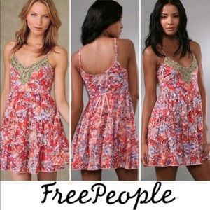 Free People Tiered Jeweled Coral Dress